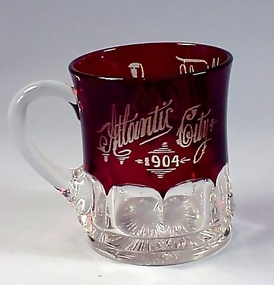 "Victorian Ruby Flashed Glass ""Atlantic City 1904"" Mug"