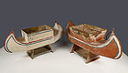 Pair Toleware Canoe Planters