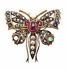 Victorian 14K Gold Ruby Emerald Sapphire Diamond Butterfly Brooch